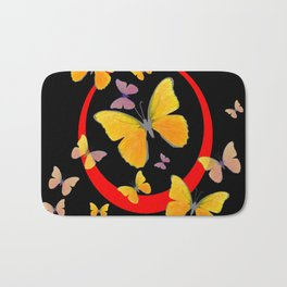 YELLOW BUTTERFLIES & RED RING  ABSTRACT ART Bath Mat