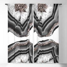 Gray Black White Agate with Rose Gold Glitter #2 #gem #decor #art #society6 Blackout Curtain