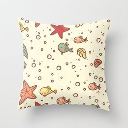Cute Vintage Style Sea life Seamless Pattern Throw Pillow