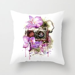 Camera in flowers Throw Pillow