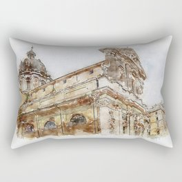 Aquarelle sketch art. View to the historical buildings Rectangular Pillow