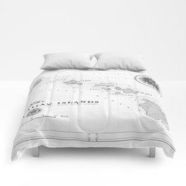 The Hawaiian Islands [Black & White] Map Print Comforters