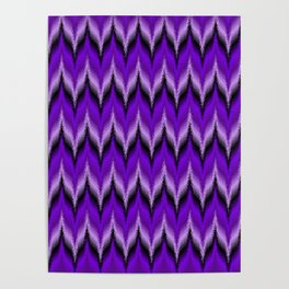 Bargello Pattern in Purple and Black Poster