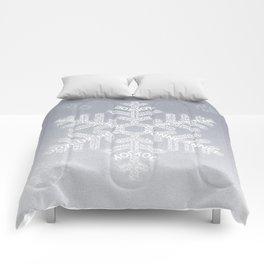 Typographic Snowflake Greetings - Silver Grey Comforters