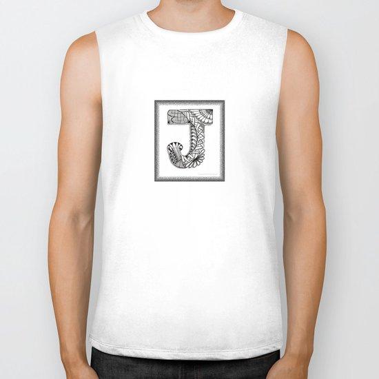 Zentangle J Monogram Alphabet Illustration Biker Tank