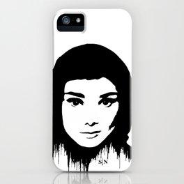 Audrey Hepburn art design ( black and white)  iPhone Case