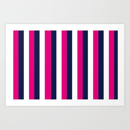 Stripes - Navy, White, Pink Art Print