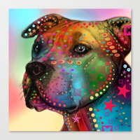 pit bull Canvas Prints featuring pit bull by mark ashkenazi
