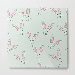 Grey rabbit pattern Metal Print