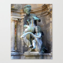 Mother, Child and Swan- outside Frederiksborg Palace  Canvas Print