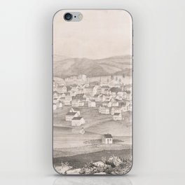 Vintage Pictorial Map of Worcester MA (1837) iPhone Skin