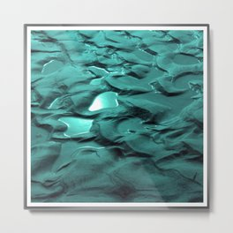 Sun Puddles Teal Metal Print