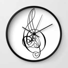 Magnificent Music Script Treble Clef Wall Clock