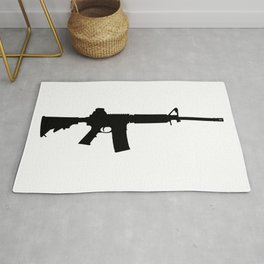AR15 in black silhouette on white Rug