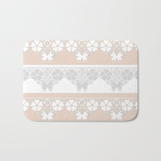 Peach-colored lace . Bath Mat