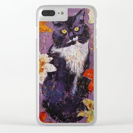 Cat with Tiger Lilies Clear iPhone Case