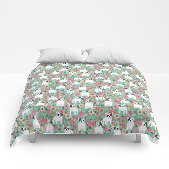 French Bulldog florals cute spring summer dog gifts bright happy frenchie puppy dog portraits  Comforters