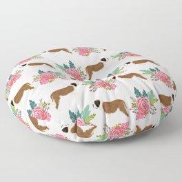 Saint Bernard florals dog breed floral bouquet dog pattern minimal pet friendly Floor Pillow