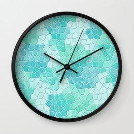 Mosaic Pattern in Seafoam and Mint Wall Clock