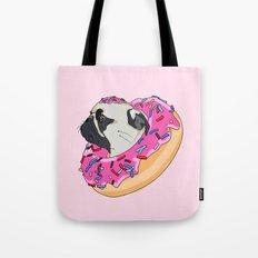 Pug Donut Strawberry Profile Tote Bag