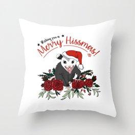 Merry Hissmas - floral christmas themed possum baby Throw Pillow