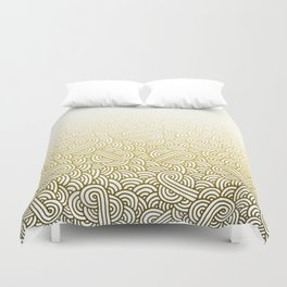 Gradient yellow and white swirls doodles Duvet Cover