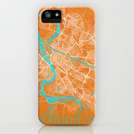 Mannheim, Germany, Gold, Blue, City, Map iPhone Case