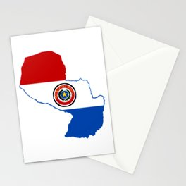 Paraguay Map with Paraguayan Flag Stationery Cards