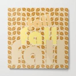 Bright Fall Leaves Pattern Metal Print