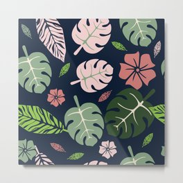 Tropical leaves Blue paradise #homedecor #apparel #tropical Metal Print
