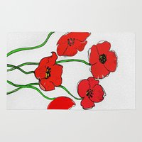 poppy Area & Throw Rugs featuring Poppy  by Armine Nersisian