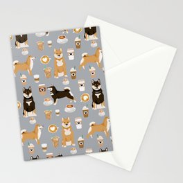 Shiba Inu coffee dog breed pet friendly pet portrait coffees pattern dogs Stationery Cards