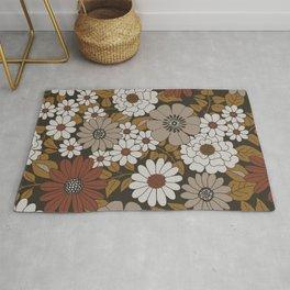 Brown, Orange, and Ivory Retro Flower Pattern Rug