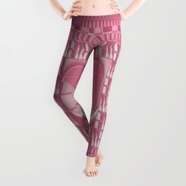 Rose Pink Geometric Abstract Leggings