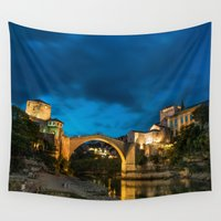 islam Wall Tapestries featuring Mostar at night by Fatih