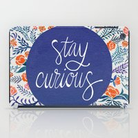 navy iPad Cases featuring Stay Curious – Navy & Coral by Cat Coquillette