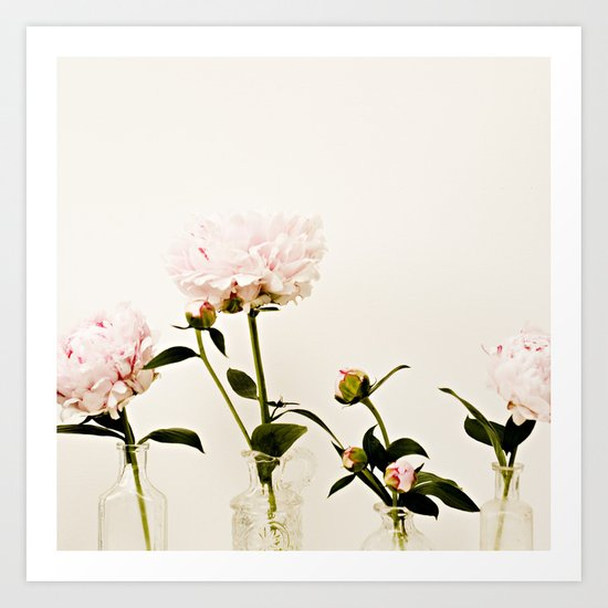 Four Friends Peony Flowers Art Print