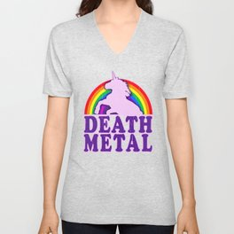 Funny Death Metal Unicorn Rainbow T-Shirt Unisex V-Neck