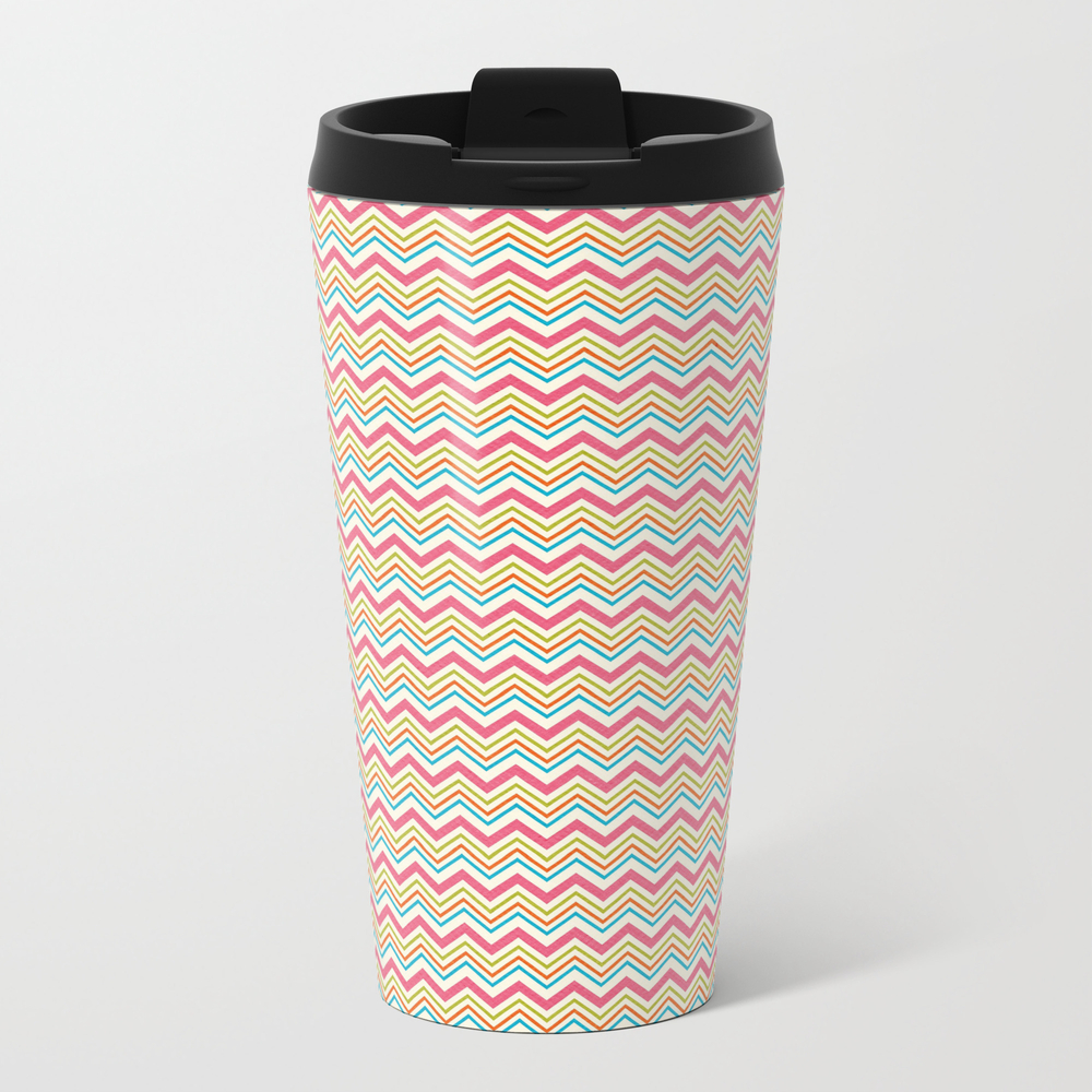 Multi Color Chevron Metal Travel Mug by Queenofcases MTM8353950