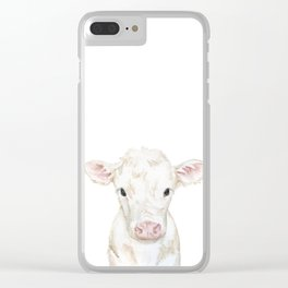 Baby White Cow Calf Watercolor Farm Animal Clear iPhone Case