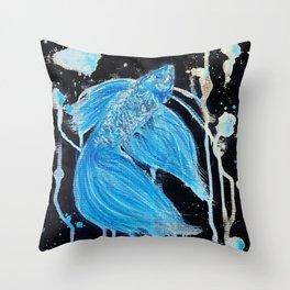 Blue Splatter Drip Betta Throw Pillow