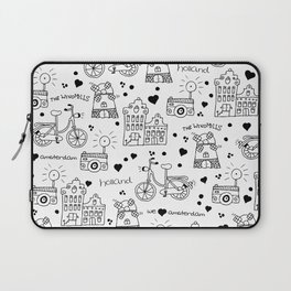 Hello Amsterdam Dutch Hipster travel icons bike and windmill Laptop Sleeve