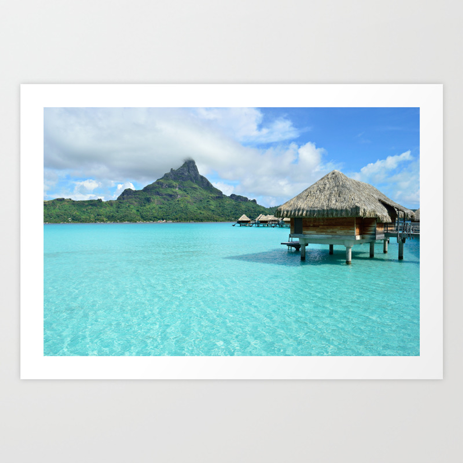 Luxury Over Water Resort With View On Bora Bora Island Art Print