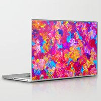 jazzberry Laptop & iPad Skins featuring FLORAL FANTASY Bold Abstract Flowers Acrylic Textural Painting Neon Pink Turquoise Feminine Art by EbiEmporium