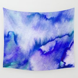 Watercolor texture - electric blue Wall Tapestry