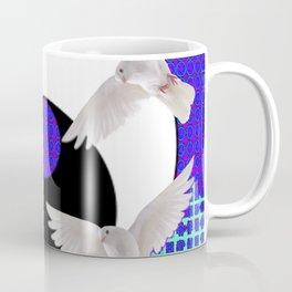 AQUA-LILAC FLYING DOVES Taoism/Daoism ART Coffee Mug
