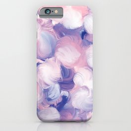 Abstract pink purple blue white modern oil dots painting iPhone Case