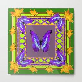 Decorative  Purple  Butterflies Green & Gold Pattern Art Metal Print