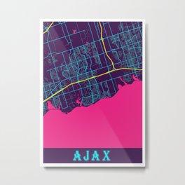 Ajax Neon City Map, Ajax Minimalist City Map Art Print Metal Print