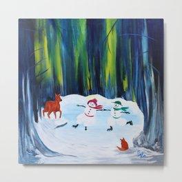 Christmas Night with dancing snowmen Metal Print